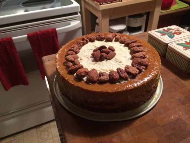 Pumpkin Cheesecake With White Chocolate & Candied Pecans