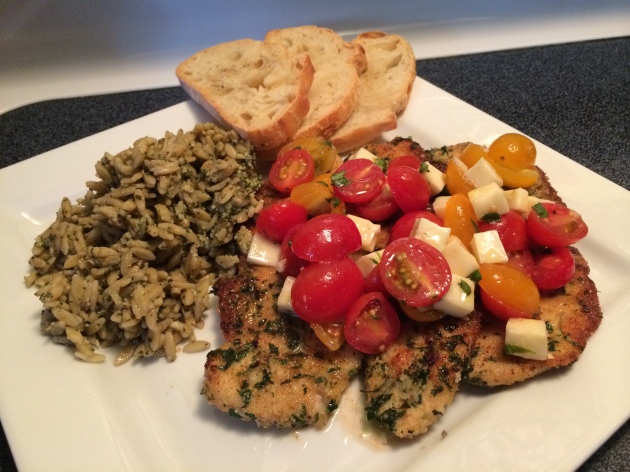 My Chicken Milanese With Tomato Caprese And Basil Pesto Orzo