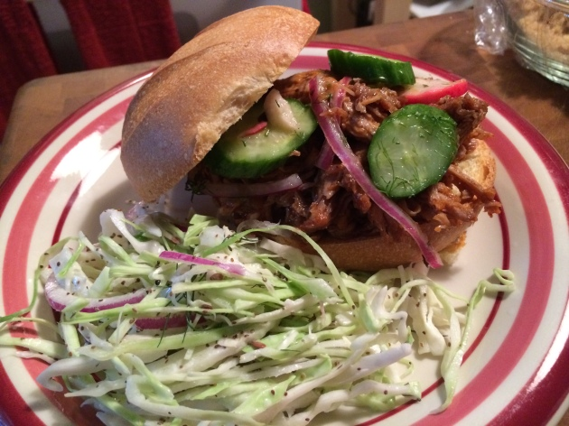 My Slow Cooker Pulled Pork, Homemade Pickles And Fennel slaw