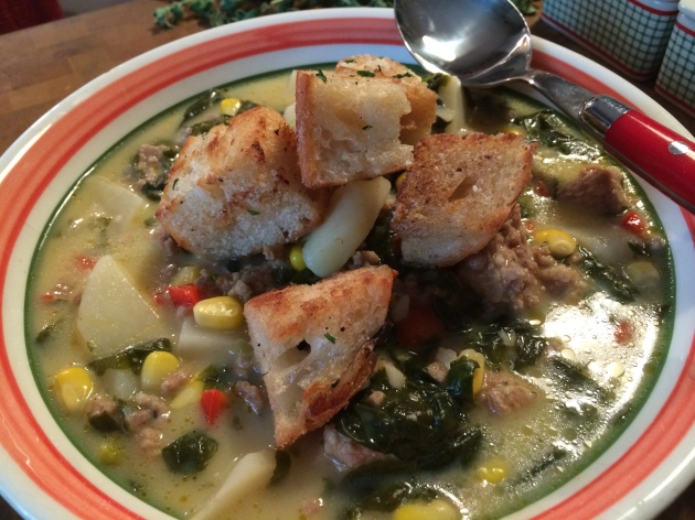 Tuscan Sausage And Potato Soup With Homemade Parmasean Croutons