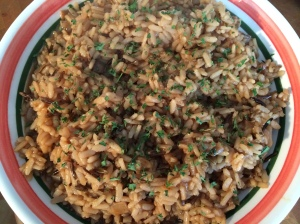 Brown rice with fresh herbs