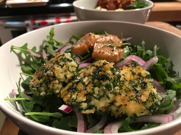 Aruguala Salad Herb Goat Cheese Medallions and Seared Scallops