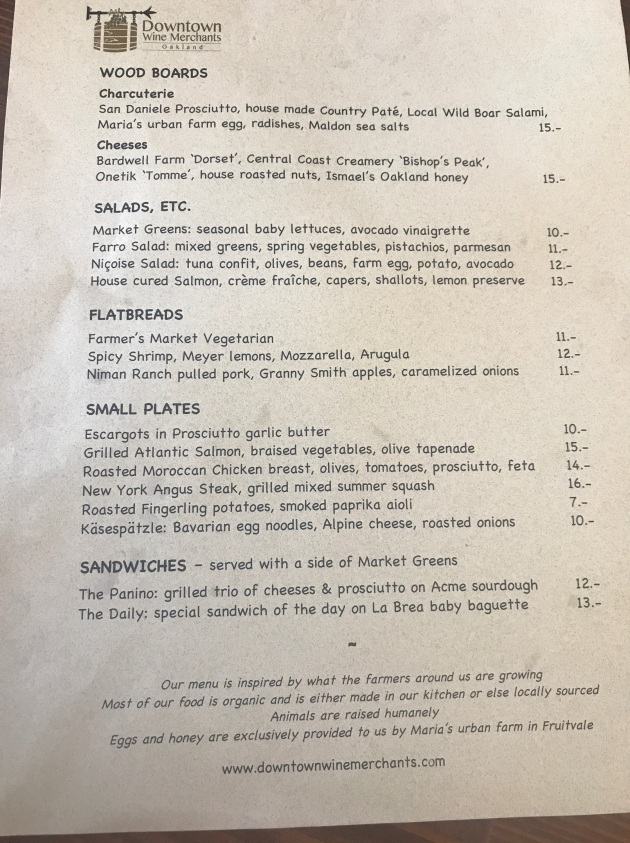 Wine Merchant's Menu
